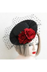Top Hat with Net Burlesque Fascinator Vintage Lace Vine Halloween Costume Accessories