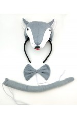 Grey Wolf Headband Bow Tail Set Kids Animal Farm Zoo Party Performance Headpiece Fancy Dress Costume Kit Accessory