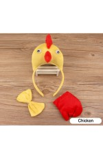 Chicken Headband Bow Tail Set Kids Animal Farm Zoo Party Performance Headpiece Fancy Dress Costume Kit Accessory