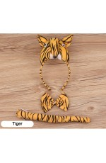 Tiger Headband Bow Tail Set Kids Animal Farm Zoo Party Performance Headpiece Fancy Dress Costume Kit Accessory