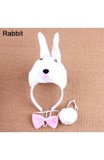 Rabbit Headband Bow Tail Set Kids Animal Farm Zoo Party Performance Headpiece Fancy Dress Costume Kit Accessory
