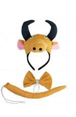 Bull Headband Bow Tail Set Kids Animal Farm Zoo Party Performance Headpiece Fancy Dress Costume Kit Accessory