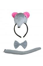Rat Headband Bow Tail Set Kids Animal Farm Zoo Party Performance Headpiece Fancy Dress Costume Kit Accessory