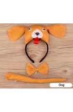 Dog Headband Bow Tail Set Kids Animal Farm Zoo Party Performance Headpiece Fancy Dress Costume Kit Accessory