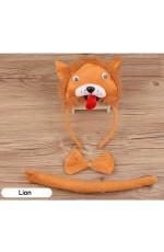 Lion Headband Bow Tail Set Kids Animal Farm Zoo Party Performance Headpiece Fancy Dress Costume Kit Accessory