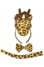 Giraffe Headband Bow Tail Set Kids Animal Farm Zoo Party Performance Headpiece Fancy Dress Costume Kit Accessory