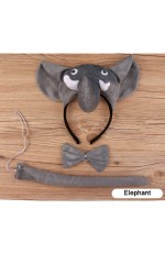 Elephant Headband Bow Tail Set Kids Animal Farm Zoo Party Performance Headpiece Fancy Dress Costume Kit Accessory