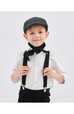 Black Victorian boy colonial boy costume cap hat braces neckerchief 3pcs set kit