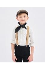 Coffee Victorian Boy Colonial Costume cap hat braces neckerchief Set