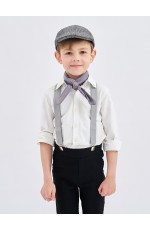 Grey Victorian boy colonial boy costume cap hat braces neckerchief 3pcs set kit