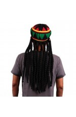 Rasta Beret Crochet Dreadlocks Headwear Knitted Jamaica Luau Hawaii Hat Wig Fancy Dress Cos Costume Beanie Cap Chapeau Déguisement Béret