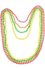 Beaded Necklace Ladies Neon Assorted Retro Bead Rave 90s 1980s 80s Disco Fancy Dress Costume Accessory