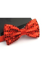 Red Glitter Sequin Clip-on Bowtie Dance Party Men Women Boys Girls Bow Tie Costume Accessory
