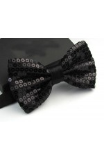 Black Glitter Sequin Clip-on Bowtie Dance Party Men Women Boys Girls Bow Tie Costume Accessory