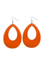 Orange Teardrop Earrings Neon 80s Retro Rock Star Jewellery  tt1045-7