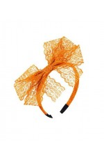 80s Party Lace Headband Orange