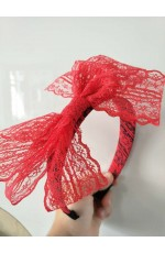 80s Party Lace Headband Red