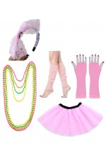 Baby Pink Ladies 80s Tutu Skirt Fishnet Gloves Leg Warmers Necklace Set