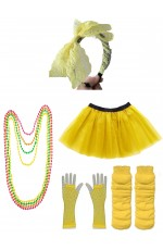 Yellow Coobey 80s Tutu Skirt Fishnet Gloves Leg Warmers Necklace Set
