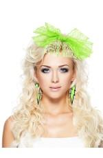 80s Party Lace Headband Nylon Green
