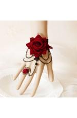 Vintage Lace Vine Rose Chain Cuff Bracelet Ring Set Halloween Jewelry