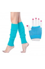 Coobey 80s Neon Fishnet Gloves Leg Warmers accessory set Light Blue