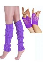 Coobey 80s Neon  Fishnet Gloves  Leg Warmers accessory set Purple
