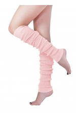 Baby Pink Womens Pair of Party Legwarmers Knitted Dance 80s Costume Leg Warmers