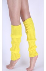 Yellow Womens Pair of Party Legwarmers Knitted Dance 80s Costume Leg Warmers