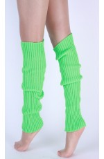 Green Womens Pair of Party Legwarmers Knitted Dance 80s Costume Leg Warmers