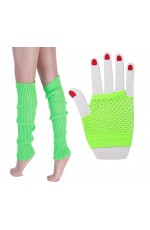 Coobey 80s Neon  Fishnet Gloves  Leg Warmers accessory set Green