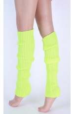 Neon Green Womens Pair of Party Legwarmers Knitted Dance 80s Costume Leg Warmers