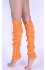 Orange Womens Pair of Party Legwarmers Knitted Dance 80s Costume Leg Warmers
