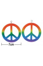 Large Rainbow Coloured Clip On CND Peace Earrings 1960 Hippy Pride Fancy Dress