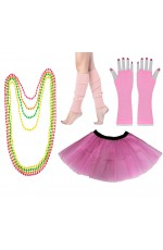 Baby Pink Coobey Ladies 80s Tutu Skirt Fishnet Gloves Leg Warmers Necklace Dancing Costume Accessory Set