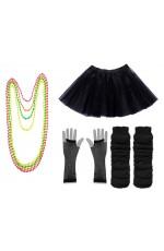 Black Coobey Ladies 80s Tutu Skirt Fishnet Gloves Leg Warmers Necklace