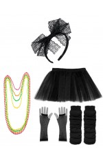 Black Coobey Ladies 80s Tutu Skirt and Accessory Set