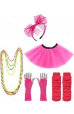 Dark Pink Coobey Ladies 80s Tutu Skirt Fishnet Gloves Leg Warmers Necklace Set