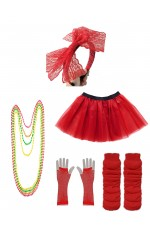 Red Coobey Ladies 80s Tutu Skirt and Accessory Set