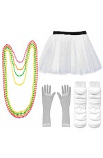 White Coobey Ladies 80s Tutu Skirt Fishnet Gloves Leg Warmers Necklace Dancing Costume Accessory Set