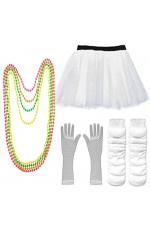 White Coobey Ladies 80s Tutu Skirt Fishnet Gloves Leg Warmers Necklace
