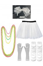 White Coobey Ladies 80s Tutu Skirt Fishnet Gloves Leg Warmers Necklace Headband
