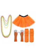 Orange Coobey Ladies 80s Tutu Skirt Fishnet Gloves Leg Warmers Necklace