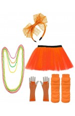 Orange Coobey Ladies 80s Tutu Skirt and Accessory Set