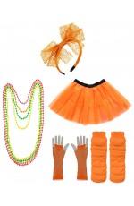 Orange Coobey Ladies 80s Tutu Skirt and Accessory Set