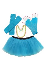 Lake blue Coobey Ladies 80s Tutu Skirt Fishnet Gloves Leg Warmers Necklace Dancing Costume Accessory Set