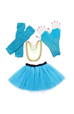 Lake blue Coobey Ladies 80s Tutu Skirt Fishnet Gloves Leg Warmers Necklace