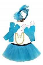 Lake blue Coobey Ladies 80s Tutu Skirt and Accessory Set