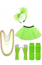 Green Coobey Ladies 80s Tutu Skirt and Accessory Set