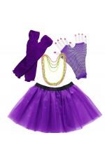 Purple Coobey Ladies 80s Tutu Skirt Fishnet Gloves Leg Warmers Necklace